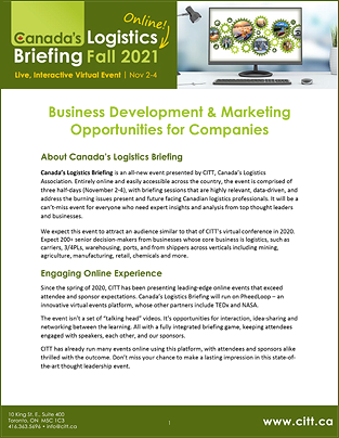 Canada's Logistics Briefing 2021 Opportunities for Companies