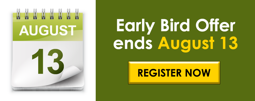 Early bird offer ends August 13 - Click here to register now!